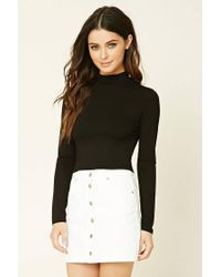 Forever 21 | Black Mock Neck Crop Top | Lyst