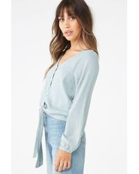 Forever 21 Blue Shadow-striped Knotted Peasant Top , Sage