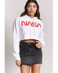 c3525aaf52dfcf Lyst - Forever 21 Nasa Graphic Cropped Hoodie in White