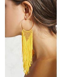 Forever 21 Yellow Woven Fringe Hoop Earrings