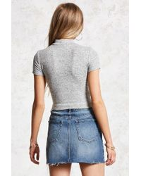 Forever 21 - Gray Mock Neck Heathered Top - Lyst