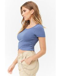 Forever 21 - Blue Ribbed Tulip Hem Top - Lyst