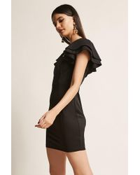 Forever 21 Black Tiered Ruffle Bodycon Dress