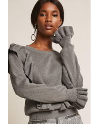 Forever 21 Gray Dual Flounce Sweater