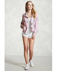 Forever 21 Pink Palm Leaf Coach Jacket