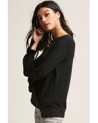 Forever 21 Black Surplice Sweater-knit Top