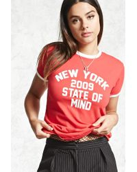 Forever 21 - Red New York State Of Mind Tee - Lyst
