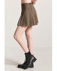 Forever 21 Black Women's Pleated Houndstooth Skirt