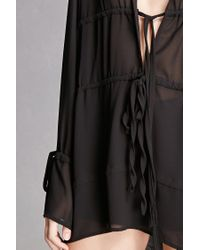 Forever 21 | Black Semi-sheer Plunging Top | Lyst