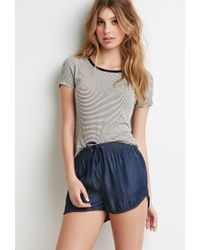 Forever 21 Blue Chambray Dolphin Shorts