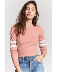 Forever 21 Pink Varsity Stripe Sweater