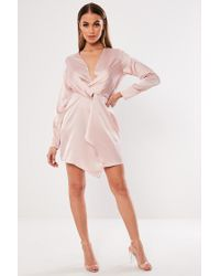 Missguided Pink Plunging Satin Dress At , Rose