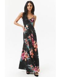 Forever 21 - Black Floral Multicolor Dot Cami Maxi Dress - Lyst