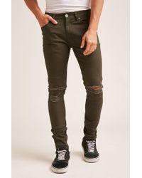 Forever 21 | Green Distressed Knee Skinny Jeans for Men | Lyst