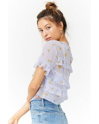 Forever 21 - Blue Sheer Floral Ruffle-trim Top - Lyst