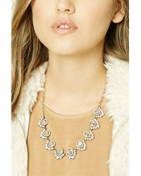 Forever 21 - Metallic Ornate Faux Gem Necklace - Lyst