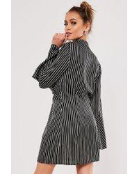 Missguided Black Pinstriped Mini Dress