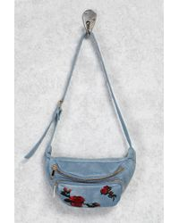 Forever 21 Blue Embroidered Denim Fanny Pack
