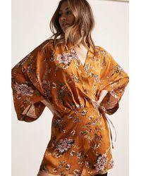 Forever 21 Orange Floral Print Wrap Dress