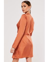 Missguided Orange Twist-front Satin Dress At , Rust
