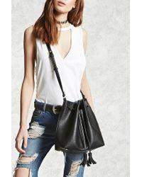 Forever 21 | Black Faux Leather Tassel Bucket Bag | Lyst