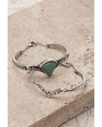 Forever 21 | Green Faux Stone Engraved Bracelet Set | Lyst