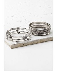 Forever 21 Metallic Etched Charm-accented Bangle Set