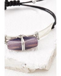 Forever 21 | Purple Wire-wrapped Faux Stone Bracelet | Lyst