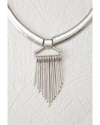 Forever 21 - Metallic Matchstick Fringe Collar Necklace - Lyst