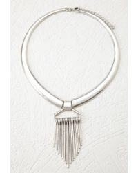 Forever 21 | Metallic Matchstick Fringe Collar Necklace | Lyst