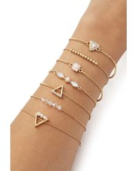 Forever 21 - Metallic Beaded And Faux Stone Bracelet Set - Lyst