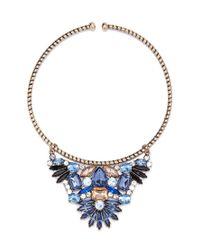 Forever 21 - Blue Rhinestone Flower Collar Necklace - Lyst