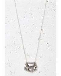 Forever 21 - Metallic Beaded Faux Stone Pendant Necklace - Lyst