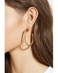 Forever 21 | Metallic Etched Ball Hoop Earrings | Lyst