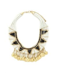 Forever 21 - Black Beaded Coin Charm Necklace - Lyst