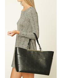 Forever 21 | Black Faux Leather Tote Bag | Lyst