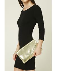 Forever 21   Metallic Faux Leather Envelope Clutch   Lyst
