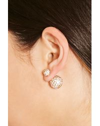 Forever 21 - White Rhinestoned Dual Studs - Lyst