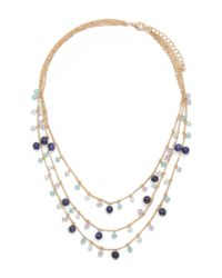 Forever 21 - Blue Charm Layered Necklace - Lyst