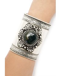 Forever 21 - Green Ornate Faux Stone Cuff - Lyst