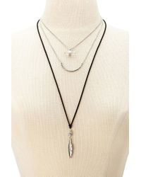 Forever 21 | Black Mixed Pendant Layered Necklace | Lyst