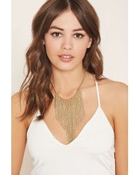 Forever 21 - Metallic Chain Fringe Statement Necklace - Lyst