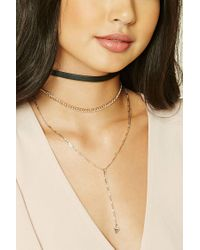 Forever 21 | Natural Triangle Charm Choker Set | Lyst