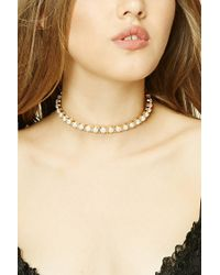 Forever 21 | Metallic Faux Pearl Collar Necklace | Lyst
