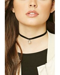 Forever 21 | Black Faux Leather Heart Necklace | Lyst