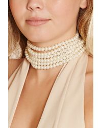 Forever 21 | Natural Faux Pearl Layered Choker | Lyst