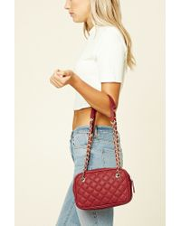 Forever 21 | Red Quilted Faux Leather Bag | Lyst
