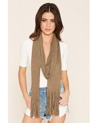 Forever 21 | Natural Faux Suede Fringed Scarf | Lyst