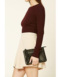 Forever 21 | Black Faux Leather Zipper Clutch | Lyst