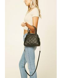 Forever 21 | White Quilted Faux Leather Satchel | Lyst
